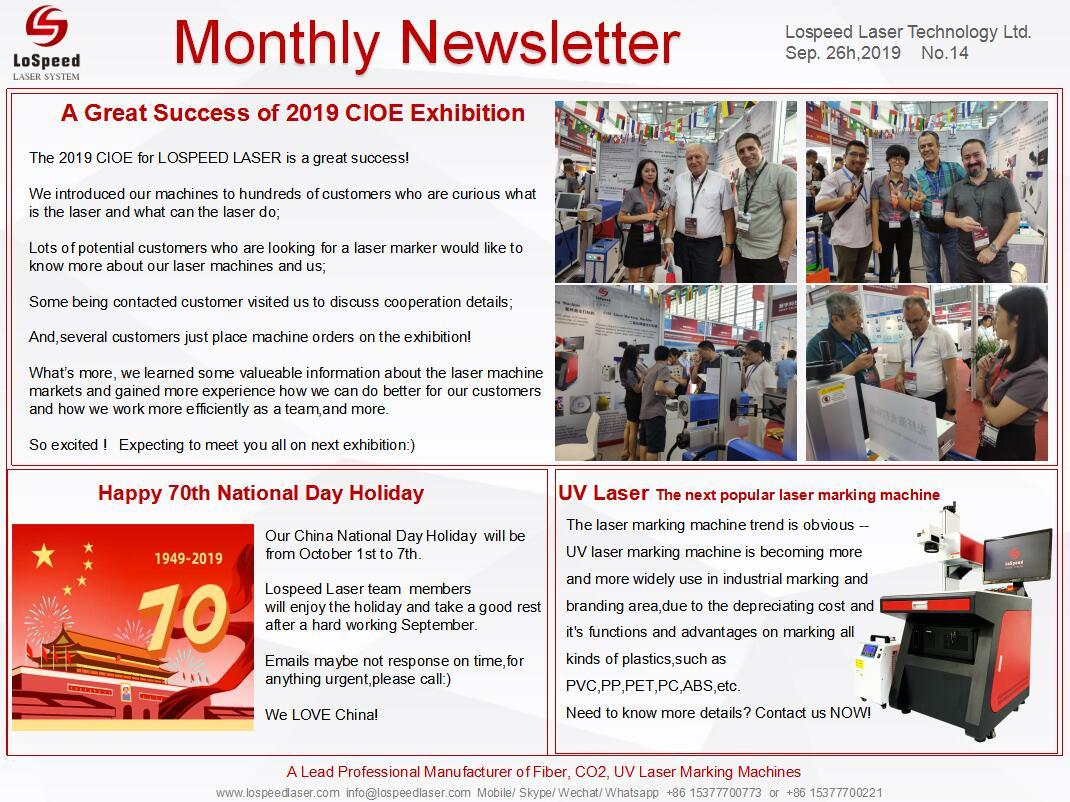 LoSpeed Monthly Newsletter-September 2019 comes, Thanks for