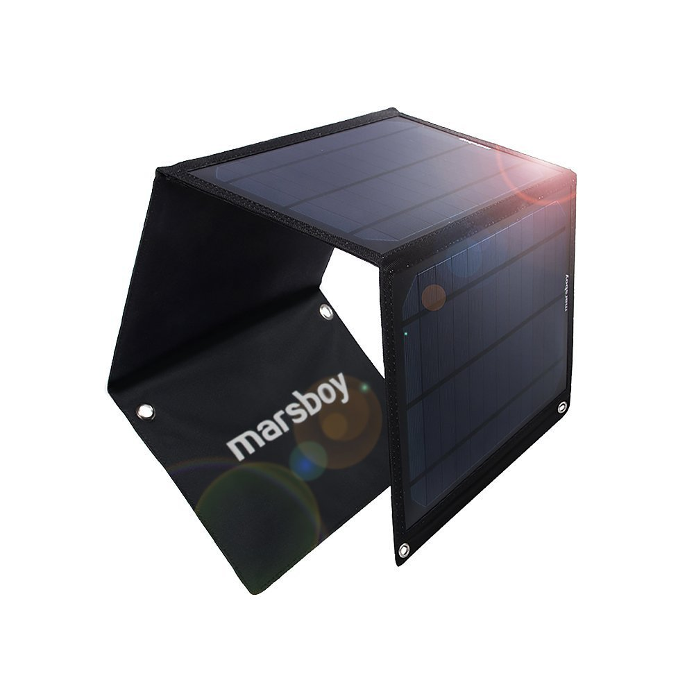 Marsboy 15W Solar Charger with Dual USB Port Foldable Portab