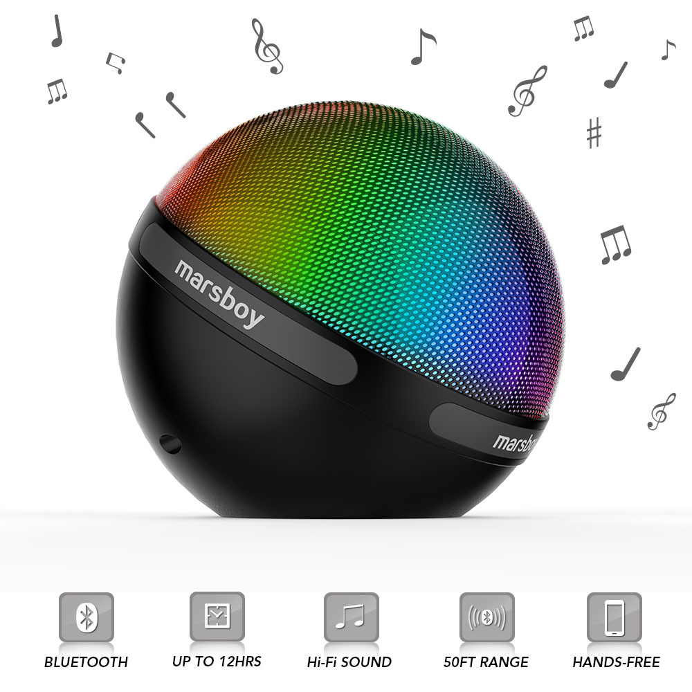 Altavoz Bluetooth Marsboy con luz LED que cambia de color, g