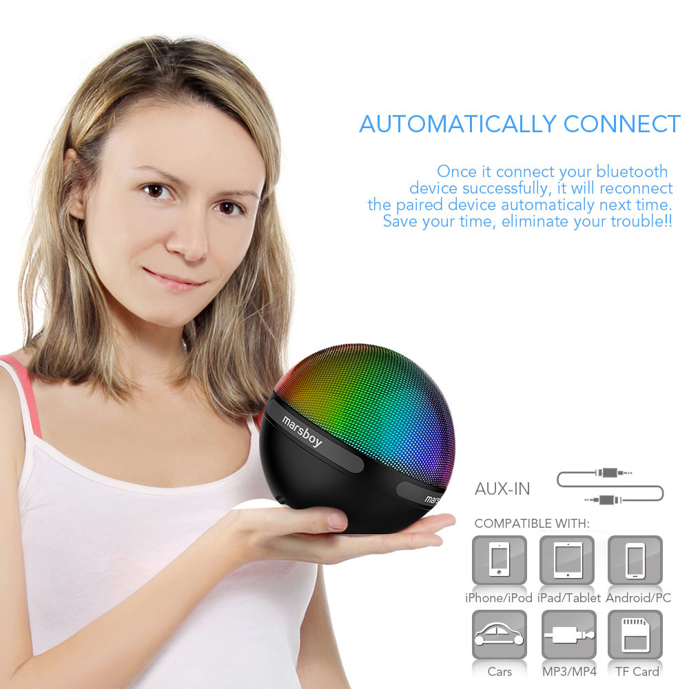 Marsboy altoparlante Bluetooth con luce led cambia colore, g