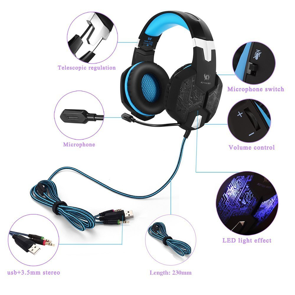 Marsboy Gaming Headset USB / jack plug microphone LED effect