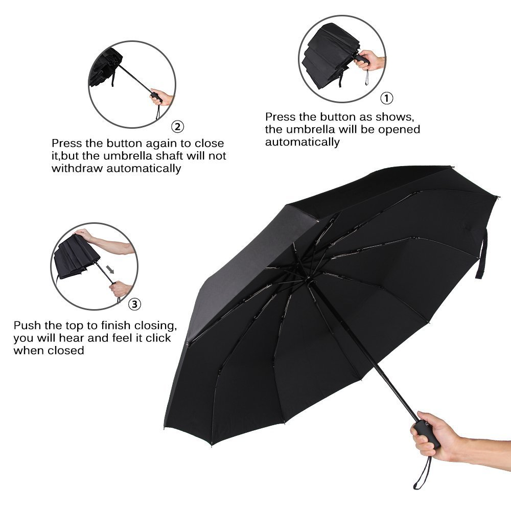 marsboy Windproof Automatic Umbrella Viagem, Auto Open / Clo
