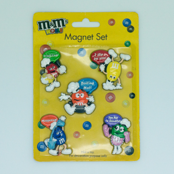 Soft Plastic M&Ms Figurine Fridge Magnet Set