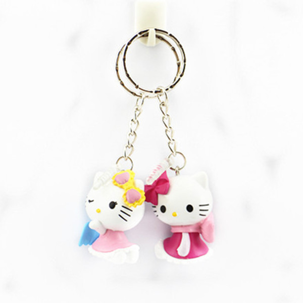 3D plastic hello kitty keychains