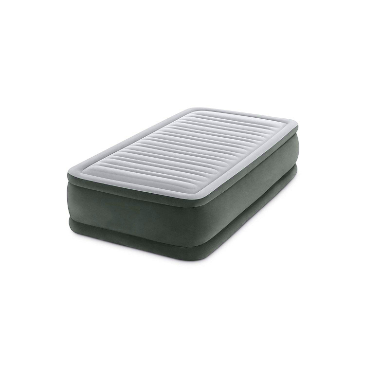 Flocking surface Blow-up Air Mattress with Built-in Pump