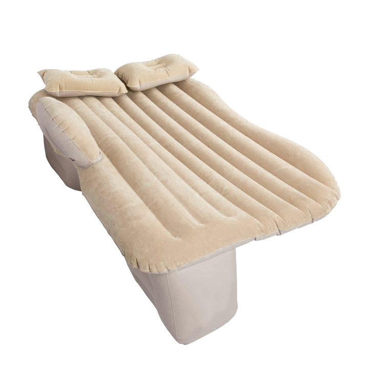 Beige Flocking SUV Back Seat Inflatable Car Mattress Pad