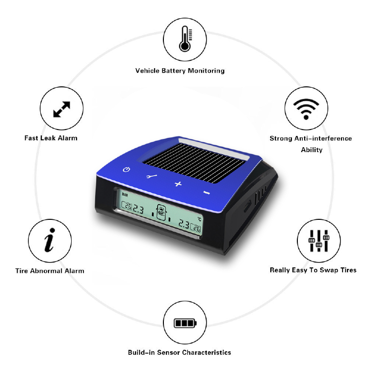 Wireless Solar TPMS Tire Pressure Monitoring System LCD Alarm with 6 External Sensors