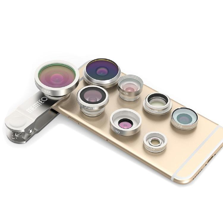 8 in 1 Clip-on Cell Phone Lens Kit 235° Super Fisheye