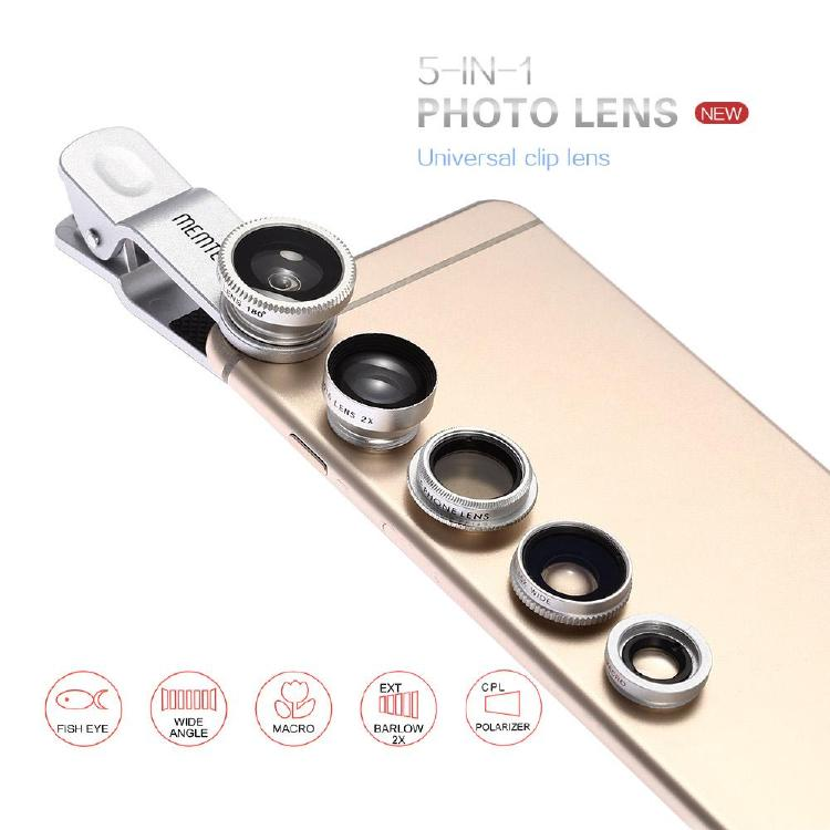 MEMTEQ® Universal 5 en 1 Cell Phone Caméra Lens Kit Clip-On