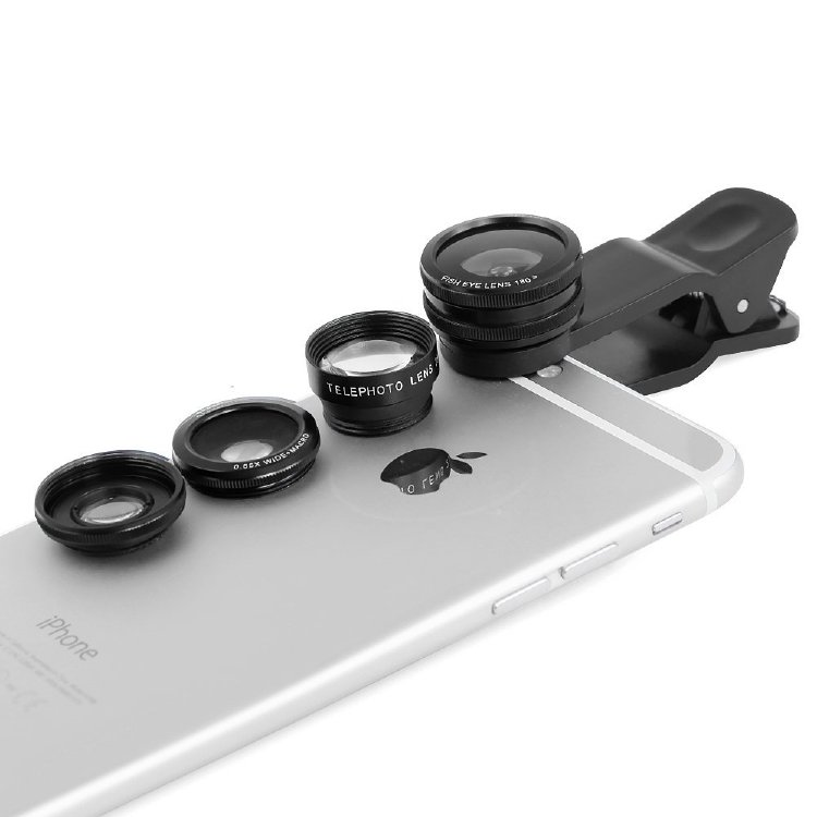 Apexel 180 Degrees Fisheye + 0.65x Wide Angle + 10x Macro + 2x Extender 4-in-1 Lens Kit for Cell Phones