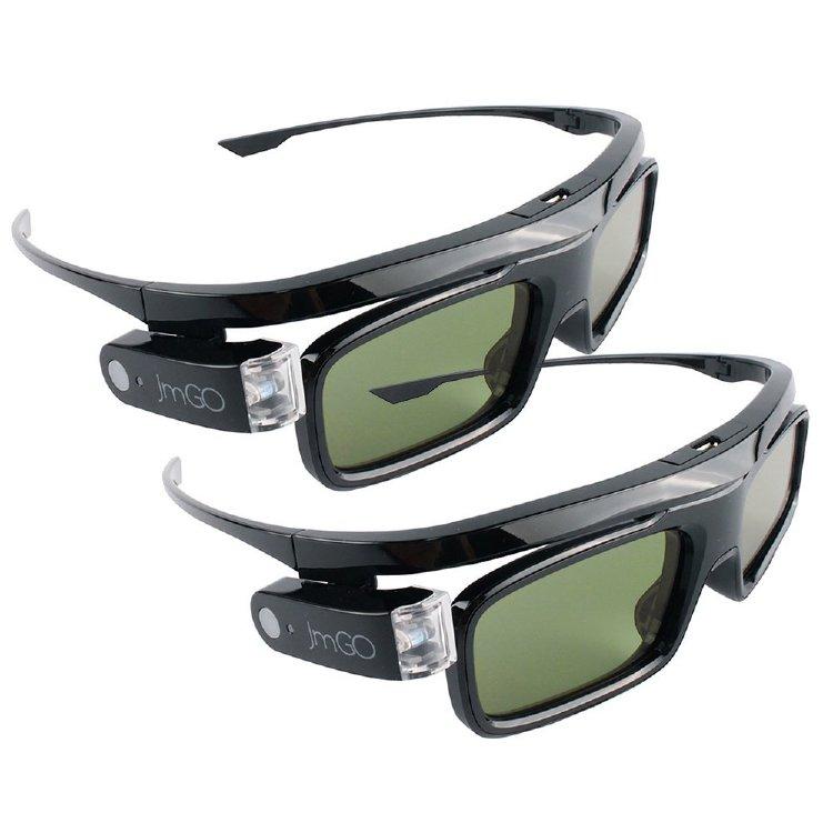 JmGO 2Pcs HGL1 DPL-Link 3D Glasses Rechargeable active noir pour DLP Projecteur 3D TV