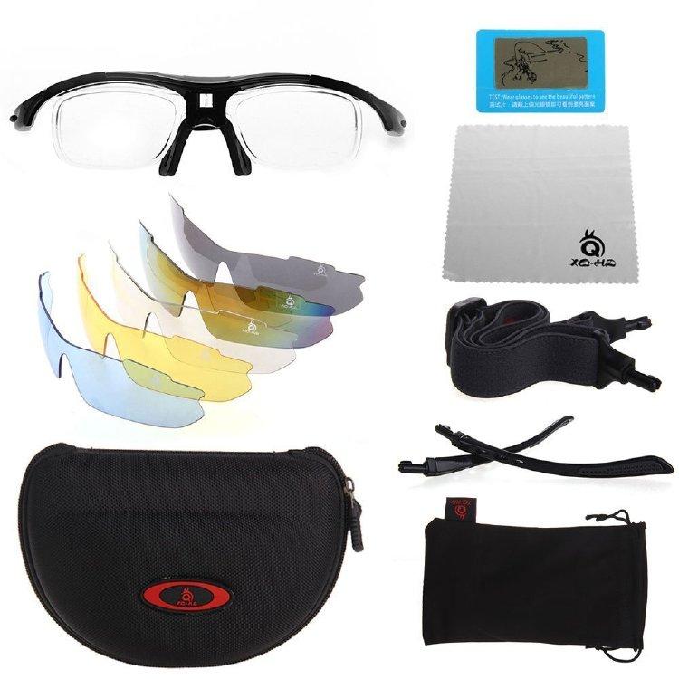 XQ-XQ поляризованные Защита от ультрафиолетовых лучей Спортивные очки Wrap Открытый очки с 5 сменными Unbreakable Объективы - черный