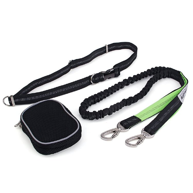 marsboy Running Dog Leash for Large Dogs with Pouch Extension Waist Dog Leash(Green)