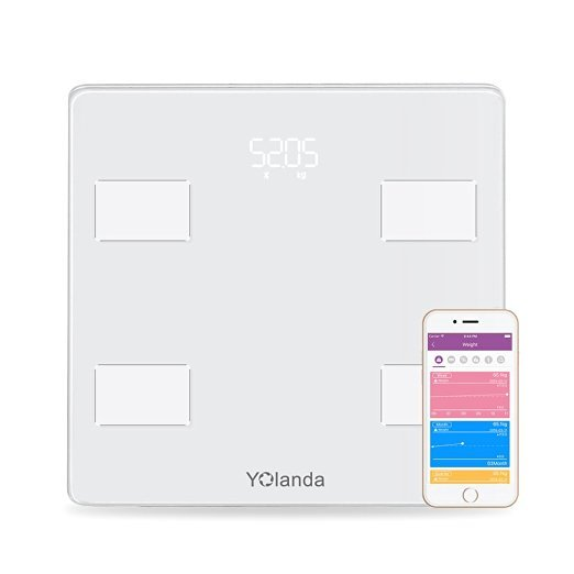 Yolanda Precision Smart Body Scale Bluetooth Tracks BMI BMR Bone Mass Fat Monitor Scale with Smartphone App Body Scale Analyzer