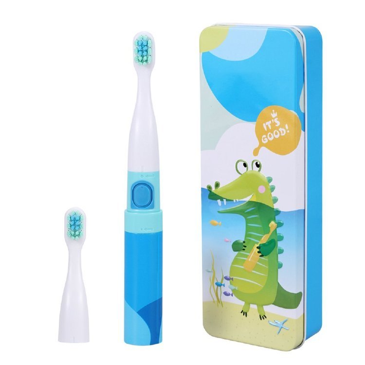 Saky Two Mode Sonic Toothbrush Battery Toothbrush Toddler Electric Toothbrush Kids Blue