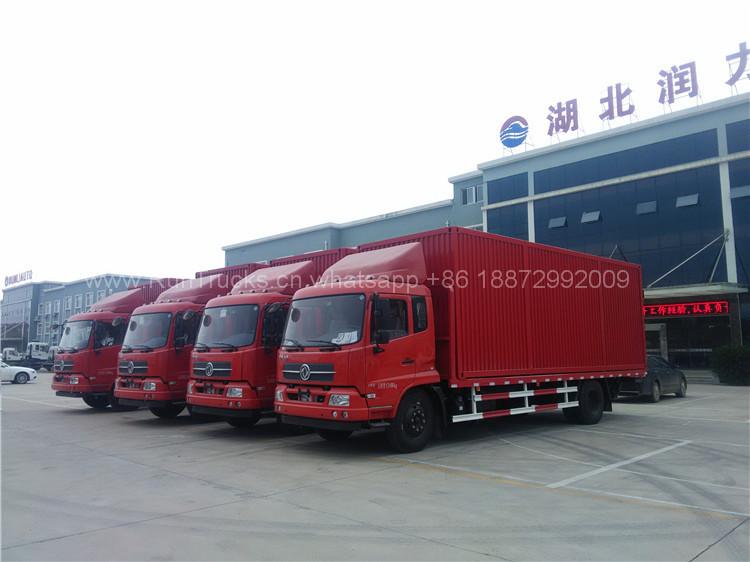 Dongfeng plataforma plana gabinete camión, descarga de conte