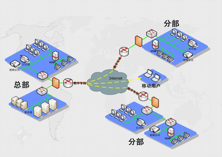 Enterprise network line for enterprises to provide office de
