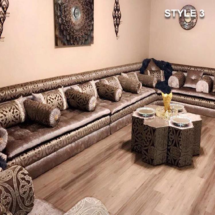Style 3 fabric brown color arabic majlis sofa floor seating jalsa sofa for Arabic style living room furniture