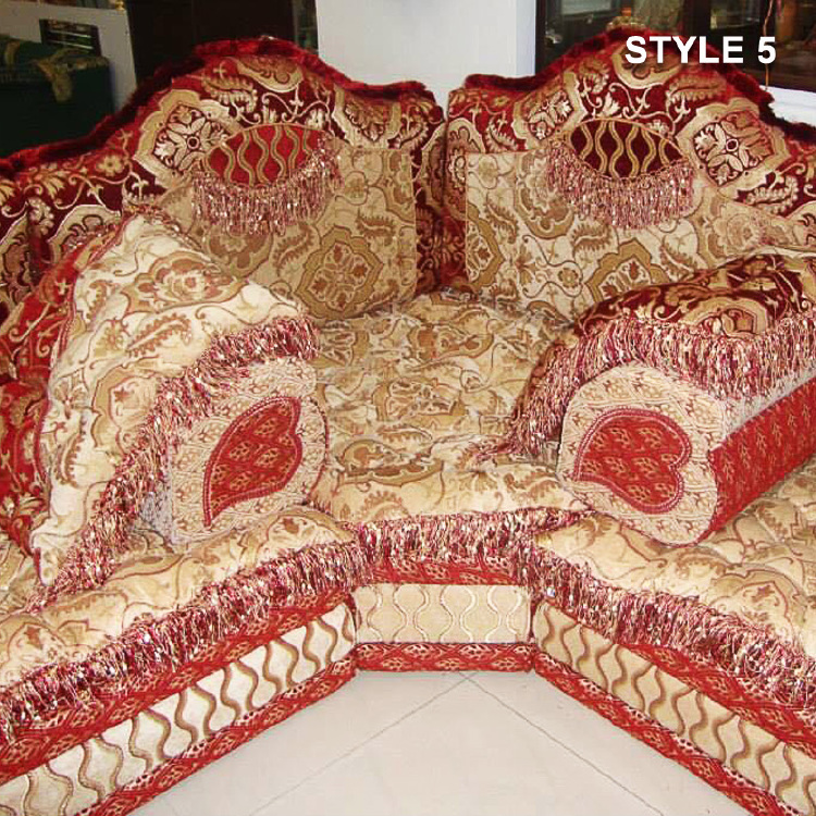 Style 5 fabric red color Arabic majlis sofa  floor seating ,