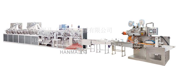 HM-ZD1280B&HM-BZ3060  全自动高速湿巾折叠机&包装机(40-120片/包)