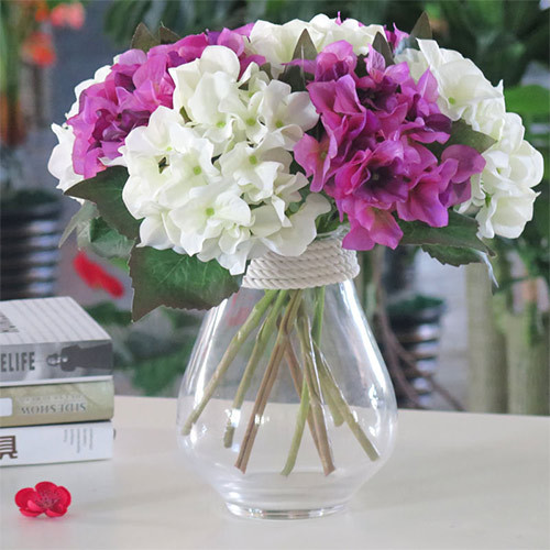 Wholesale colorful artificial hydrangea flower branch