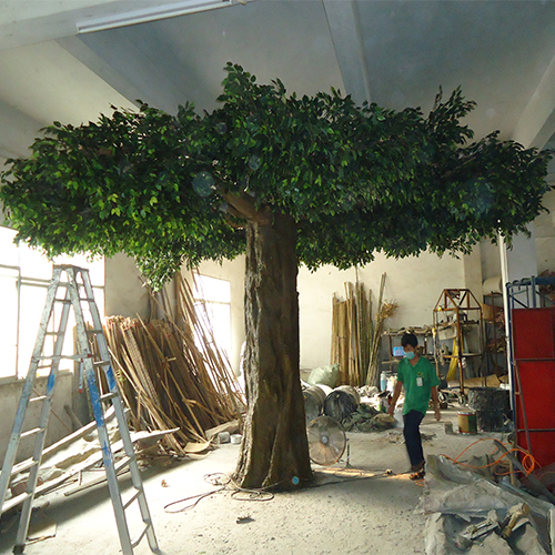 fiberglass green Artificial ficus tree customized size