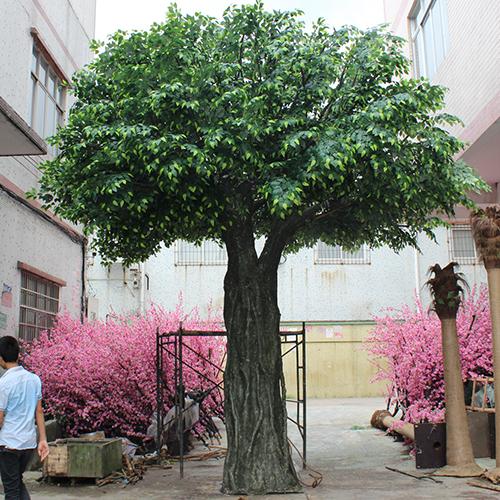 Large tree trunk banyan tree fiber grass green artificial ba