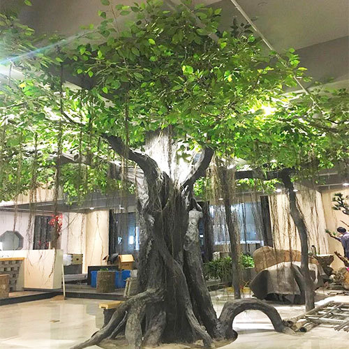 Artificial ficus tree big trunk fiberglass high simulate