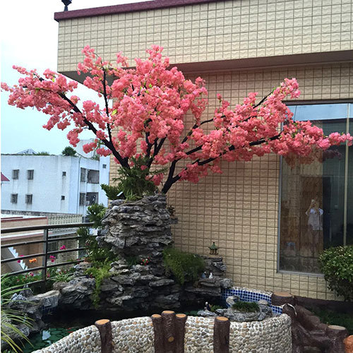 Real Wood Trunk Plastic Silk Cherry Blossom Tree For Home Office