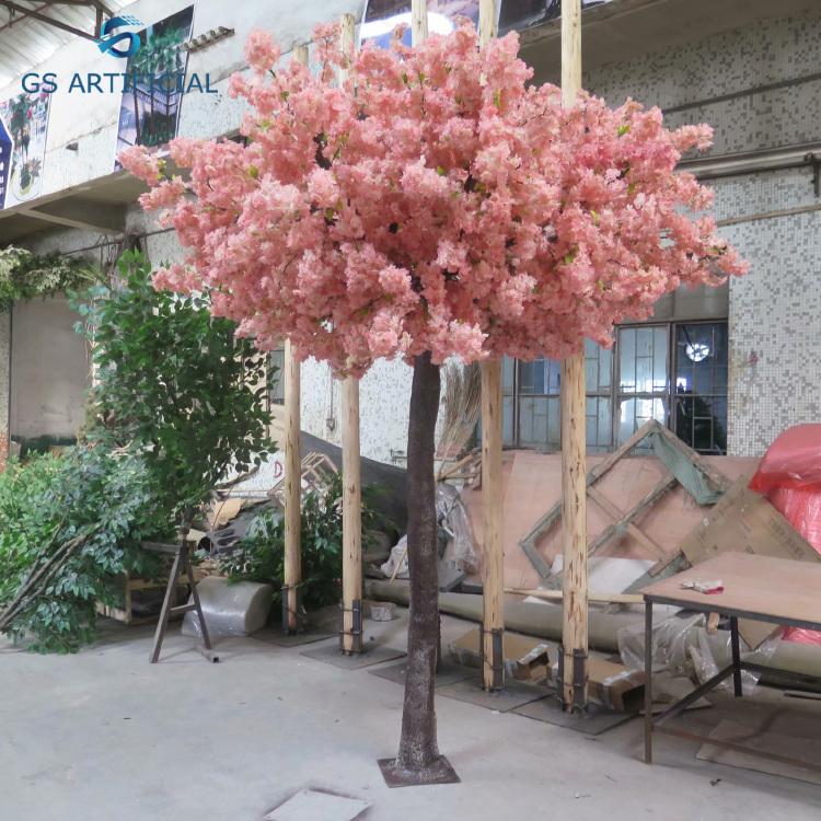 Cheap Wholesale Artificial Wedding Flower Plastic Cherry Blossom