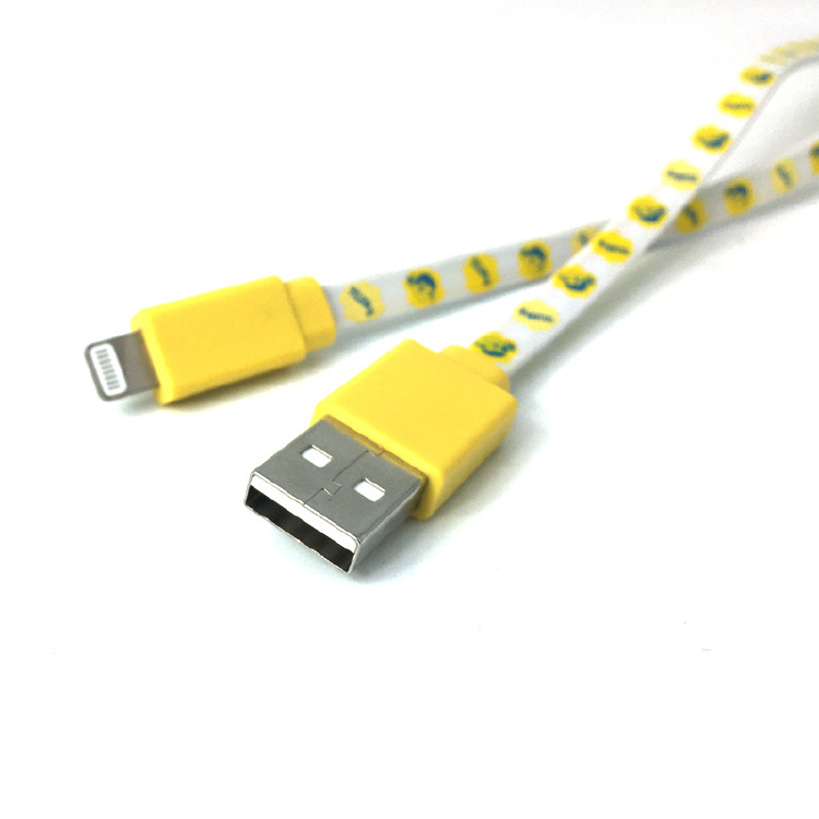 colorful logo printed Usb data  charging cable mobile phone