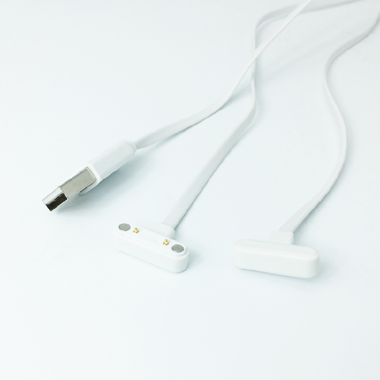 Magnetic Charging Cable For USB A/M WHITE Flat Wire