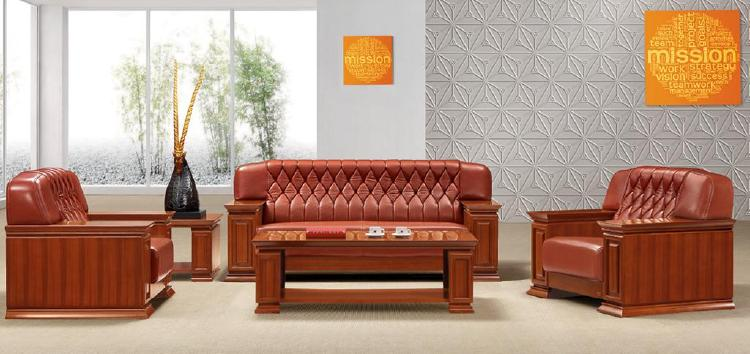 Solid Wood Leather Sofa