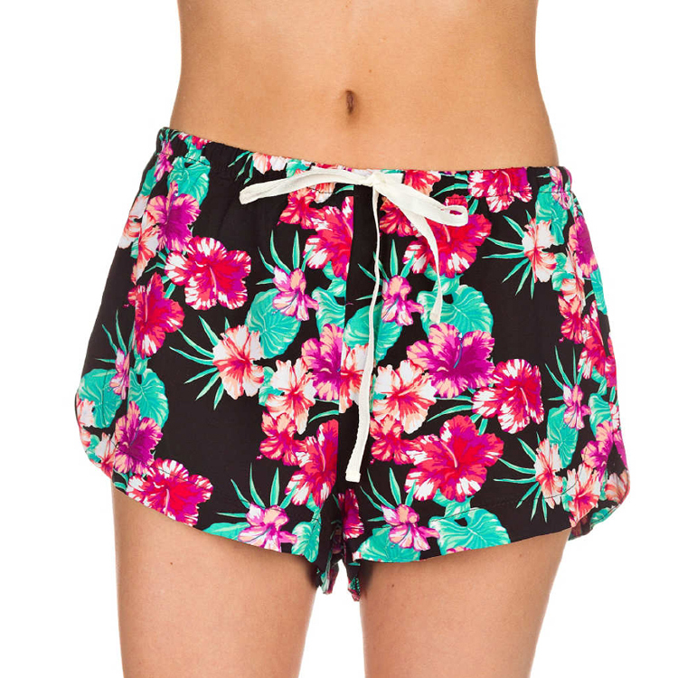 floral print quick dry fabric swim trunks women board shorts
