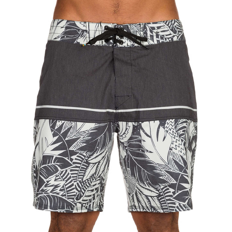grey leaves print board shorts street wear