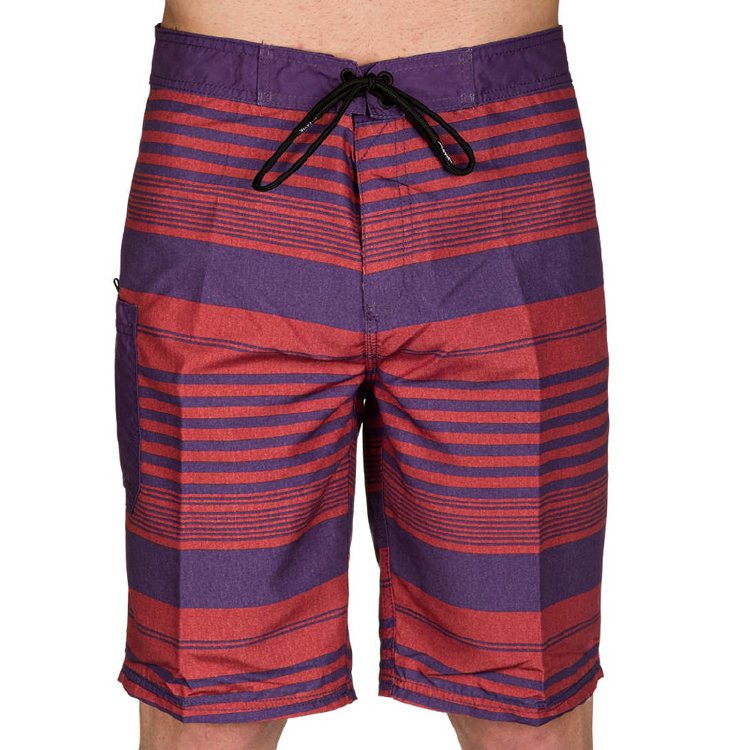 红色条纹100%涤纶夏季海滩装板短裤