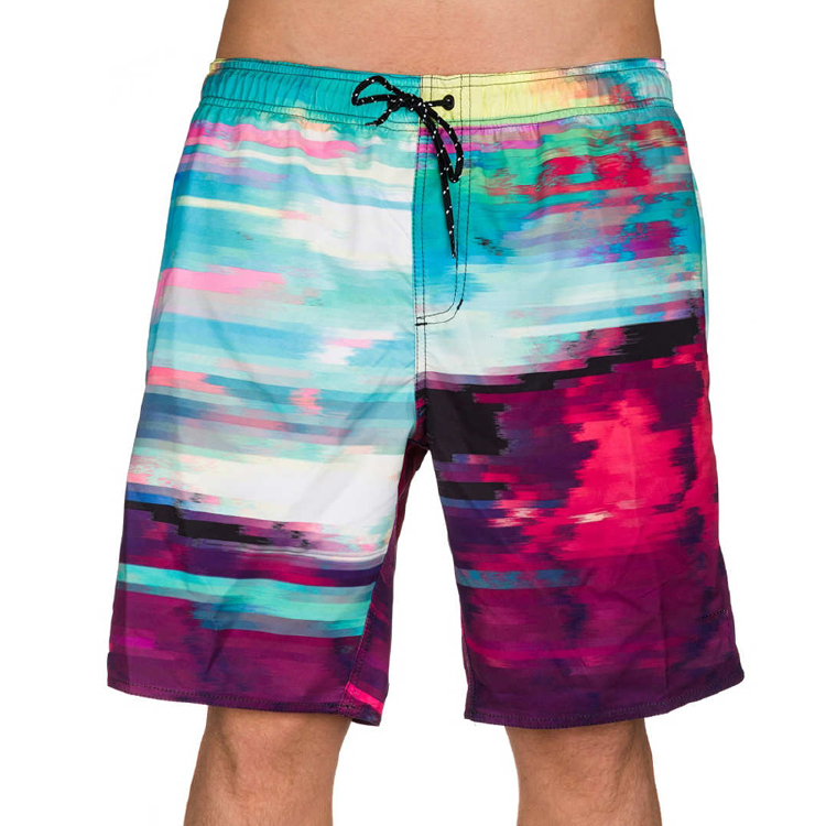 云染成印刷海滩装板短裤街头服饰