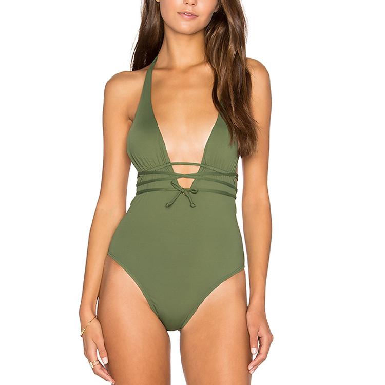 橄榄绿色露背深V比基尼泳装