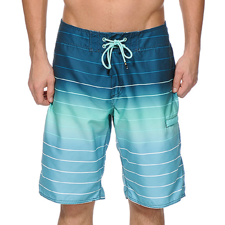 blue sea stripes beach wear board shorts