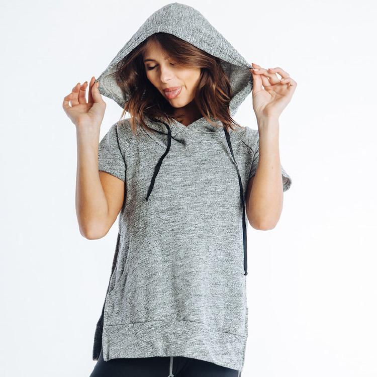 online shopping hem women wear hoodies with short sleeves