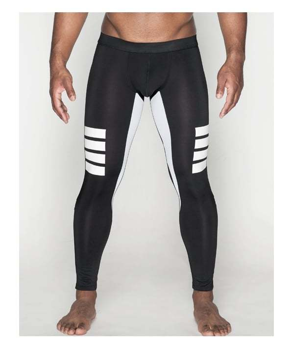Men black and white training sport leggings