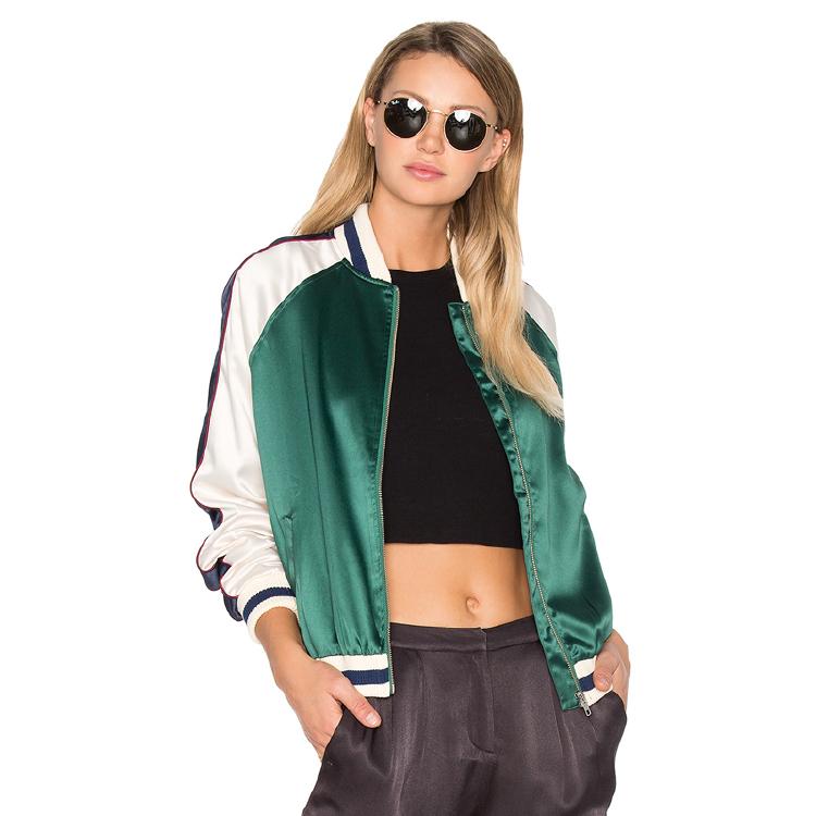 Green hot sale women polyester winter jacket