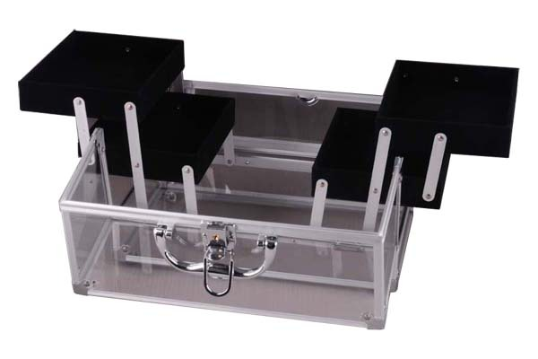Transparent Acrylic Carrying Case with Four Extendable Trays