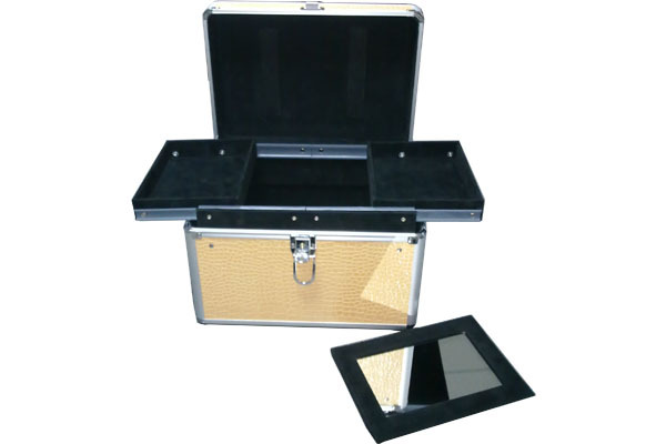 Crocodile Carrying Make Up Case with Two Rail Trays- JM056