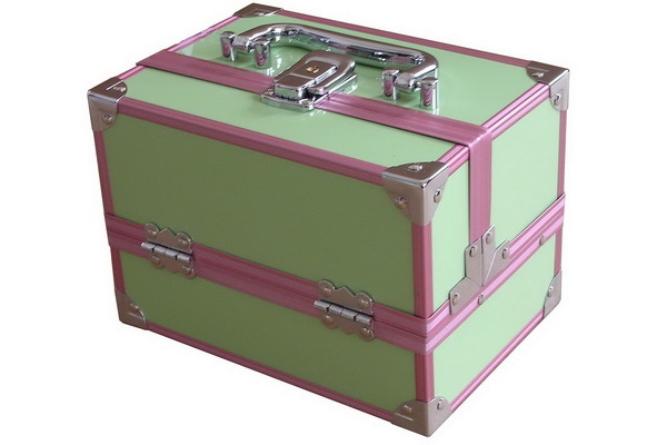 Green Beauty Case with Pink Frame and Inside Extendable Tray