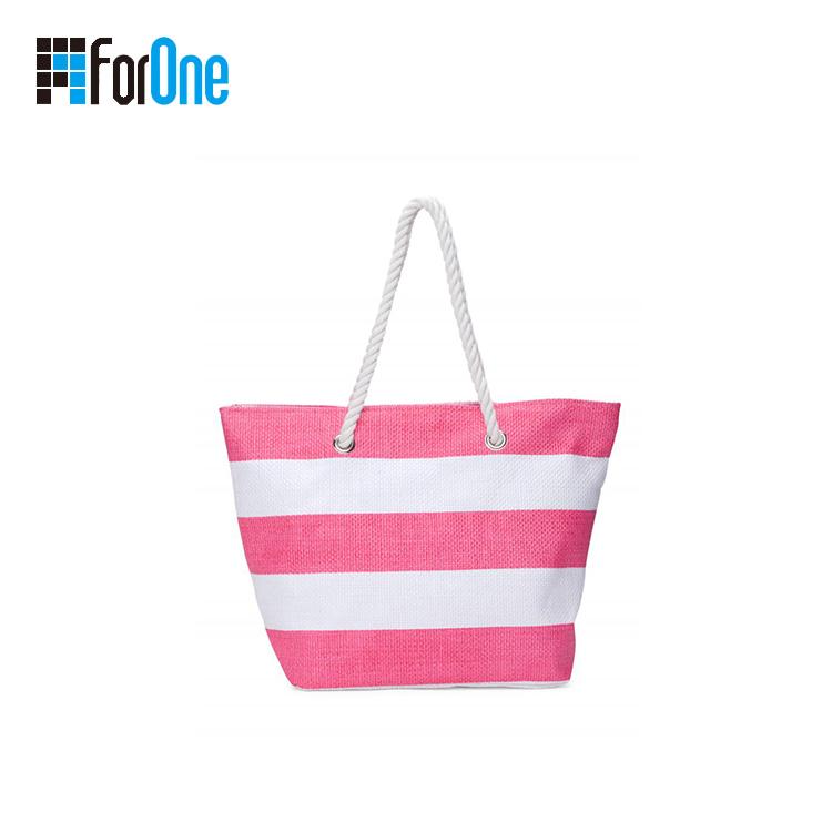 printing stripe beach bag tote