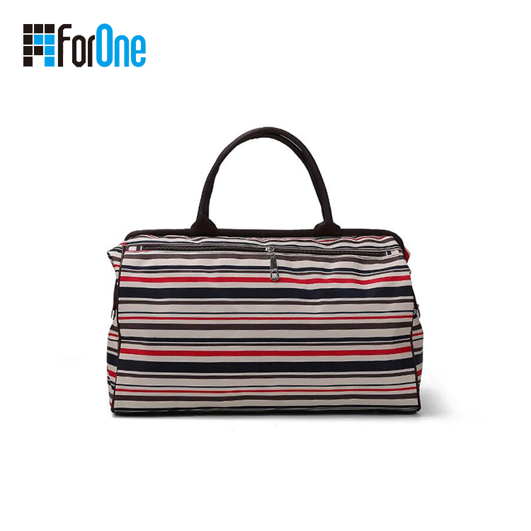 printing stripe travel bag with metal frame