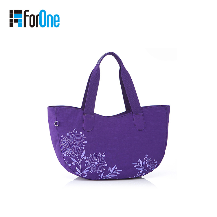 Custom Design Purple Color Nylon Tote Bag