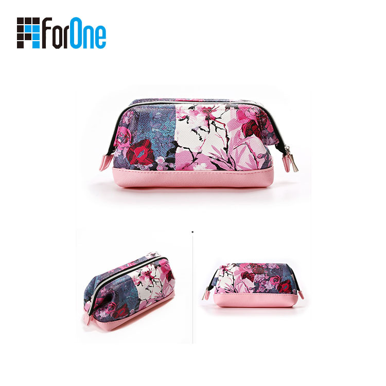 metal frame fashionable cosmetic bag with all over printing