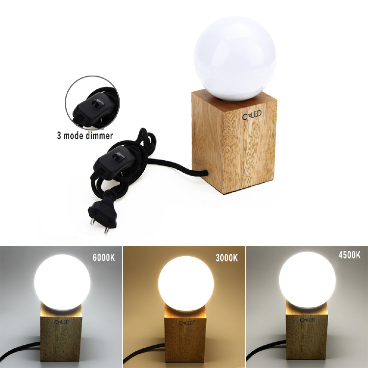 E27 LED 10W Lampe Dimmbar Tischlampe Holz Lecuhte 3 Farben N